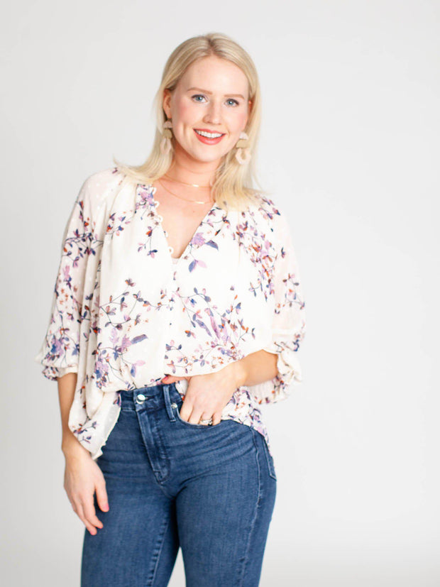 floral button front top