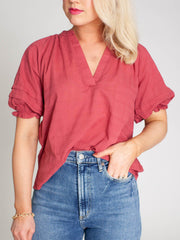 v-neck puff shoulder top