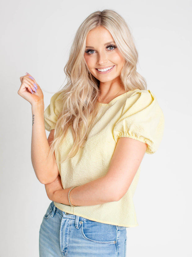 yellow puff sleeve top