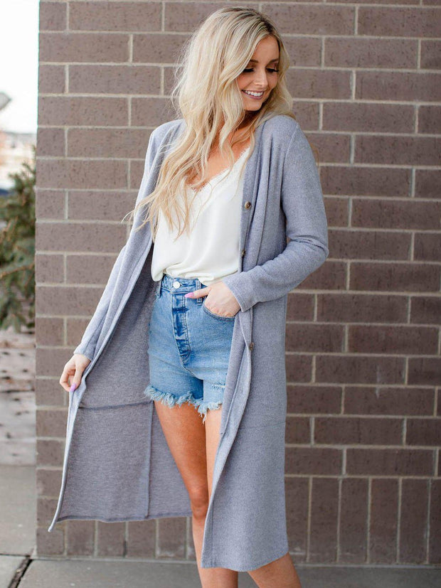 Long Ribbed Duster Cardigan