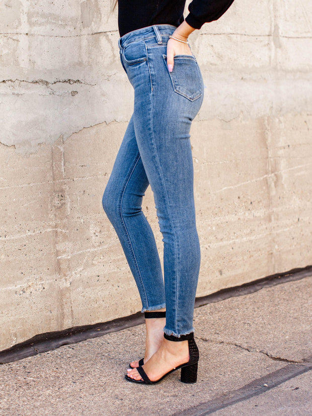 raw hem high rise denim