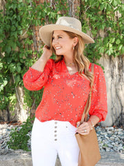 Bright V-Neck Printed Blouse