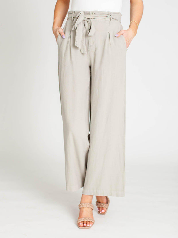 self tie wide leg pant