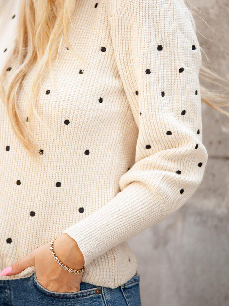 Polka Dot Statement Sleeve Sweater