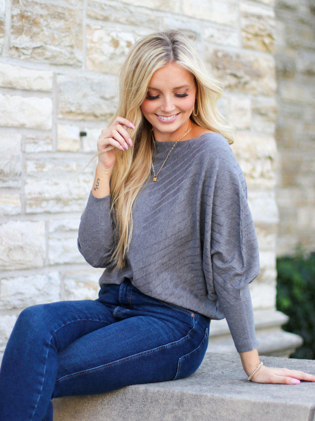 Ash Grey Slanted Dolman Top