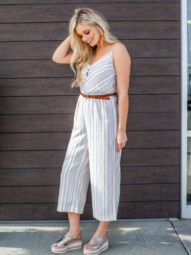 Gentle Fawn Cropped Stripe Jumpsuit