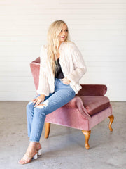 ribbed faux fur cropped jacket