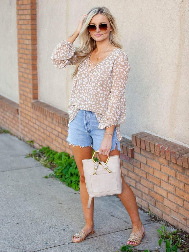 Animal Print Lace Up Top