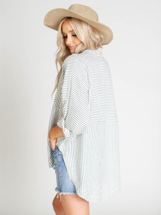 oversize hi low stripe shirt