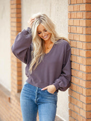 AGOLDE V-Neck Drop Shoulder Cropped Sweater