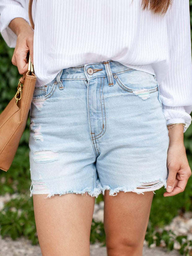 KanCan Colored Threaded Denim Shorts