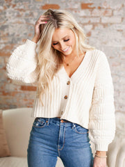 button front cropped cardigan