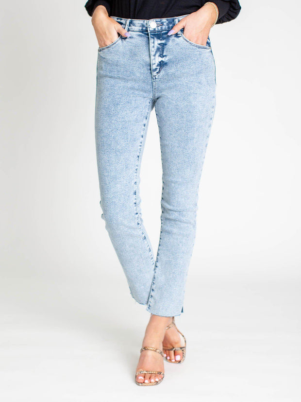 cropped wash denim
