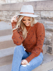 polka dot puff sleeve ribbed sweater