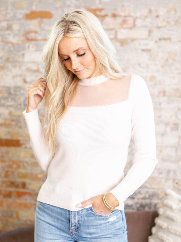 polka dot ribbed knit long sleeve
