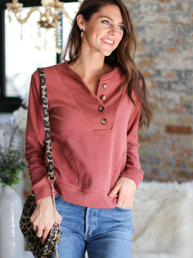 button front sweatshirt