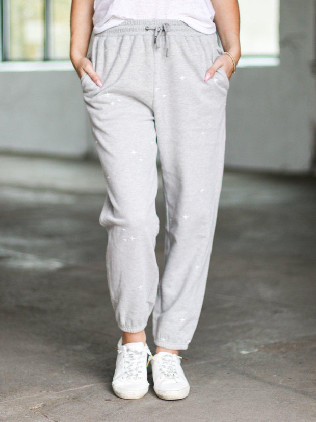 embroidered pattern jogger pants