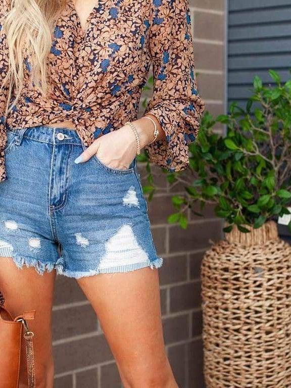 KanCan Heavy Distressed Shorts