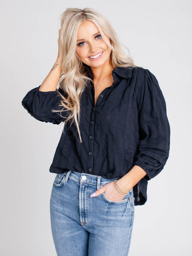puff sleeve black blouse