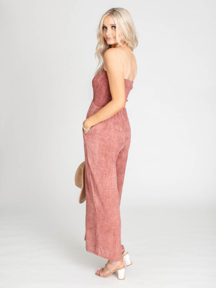 smocked bodice relaxed jumpsuit