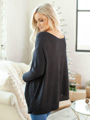 ribbed diagonal sweater
