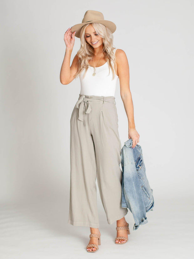 belted high waist pants