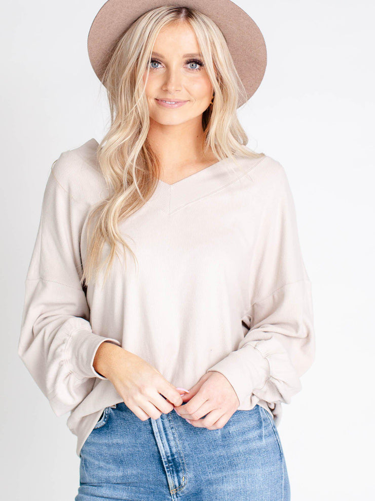 Oversize Rib Knit V-Neck Top