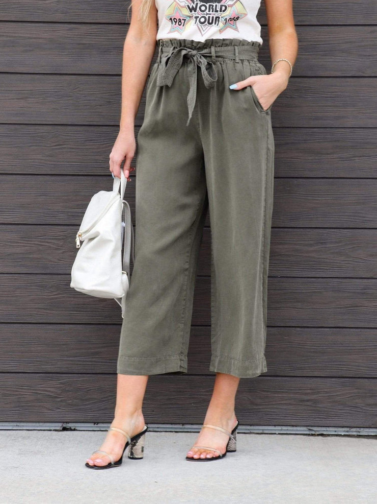 Belted Elastic Waist Cropped Pants