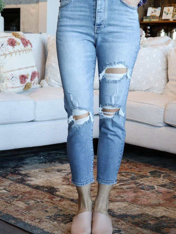 Daze Ultra Distressed High Rise Jeans