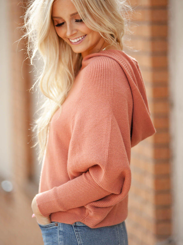 Hooded Cropped Dolman Sweater