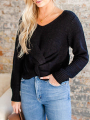 twist hem knit sweater