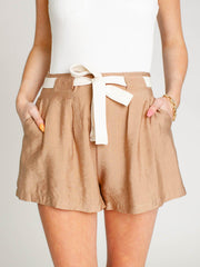 belted mocha pleat front shorts