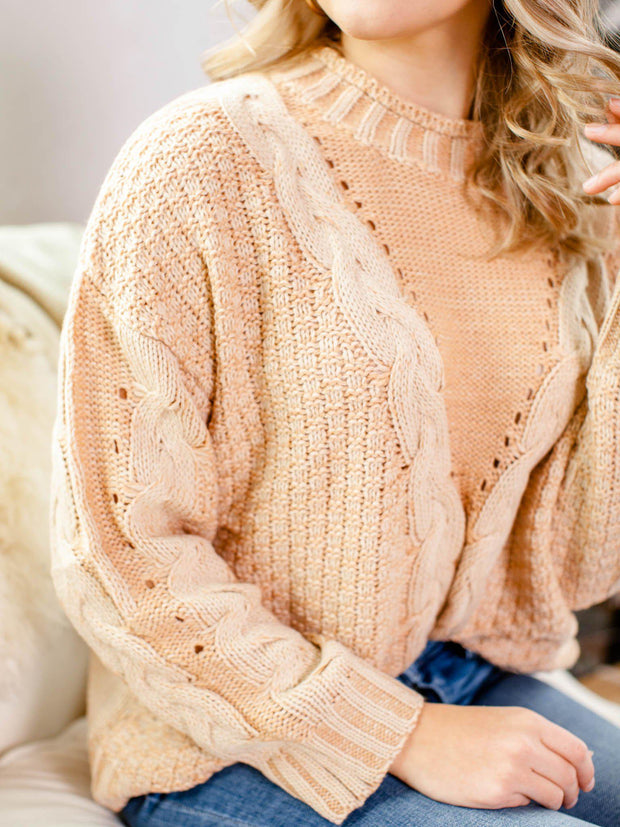camel cable sweater