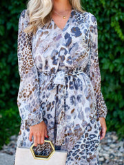 Woven Belted Animal Printed Wrap Dress
