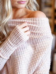 Waffle Dolman Off The Shoulder Top