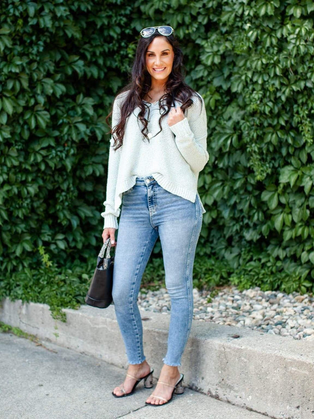 Open V-Neck Sweater
