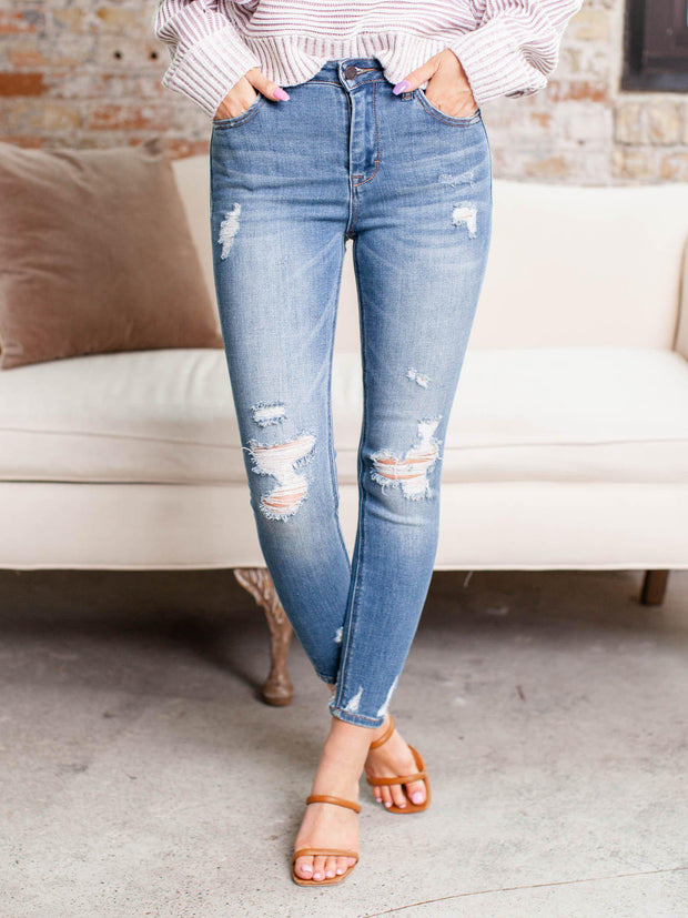 distressed high rise denim
