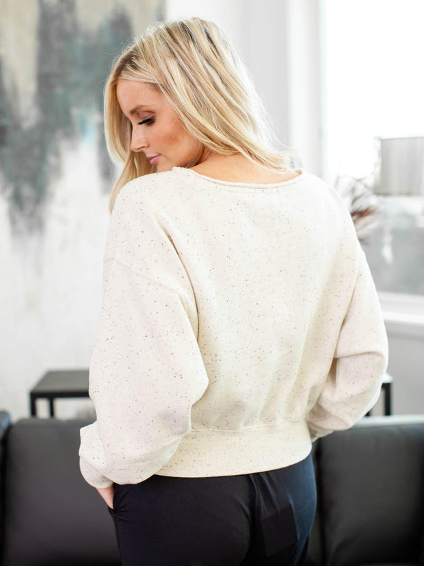 cropped speckle sweatshirt