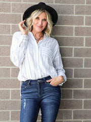 Gentle Fawn Stripe Button Down Blouse