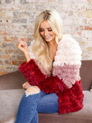 mink pink color block faux fur coat