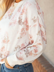 Drop Shoulder Floral Long Sleeve Top