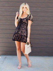 ASTR Ruffle Hem Lace Dress