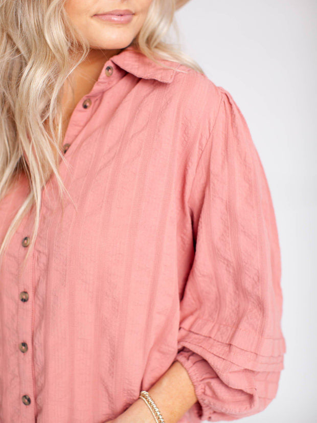 free people textured stripe blouse