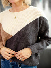 crew neck ribbed multi color sweater