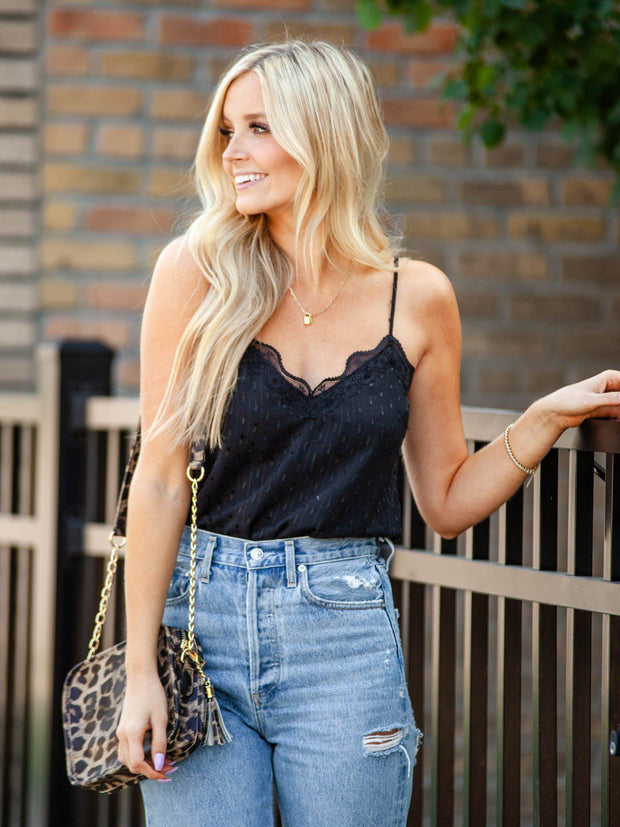 Black Lace Trim Stripe Cami