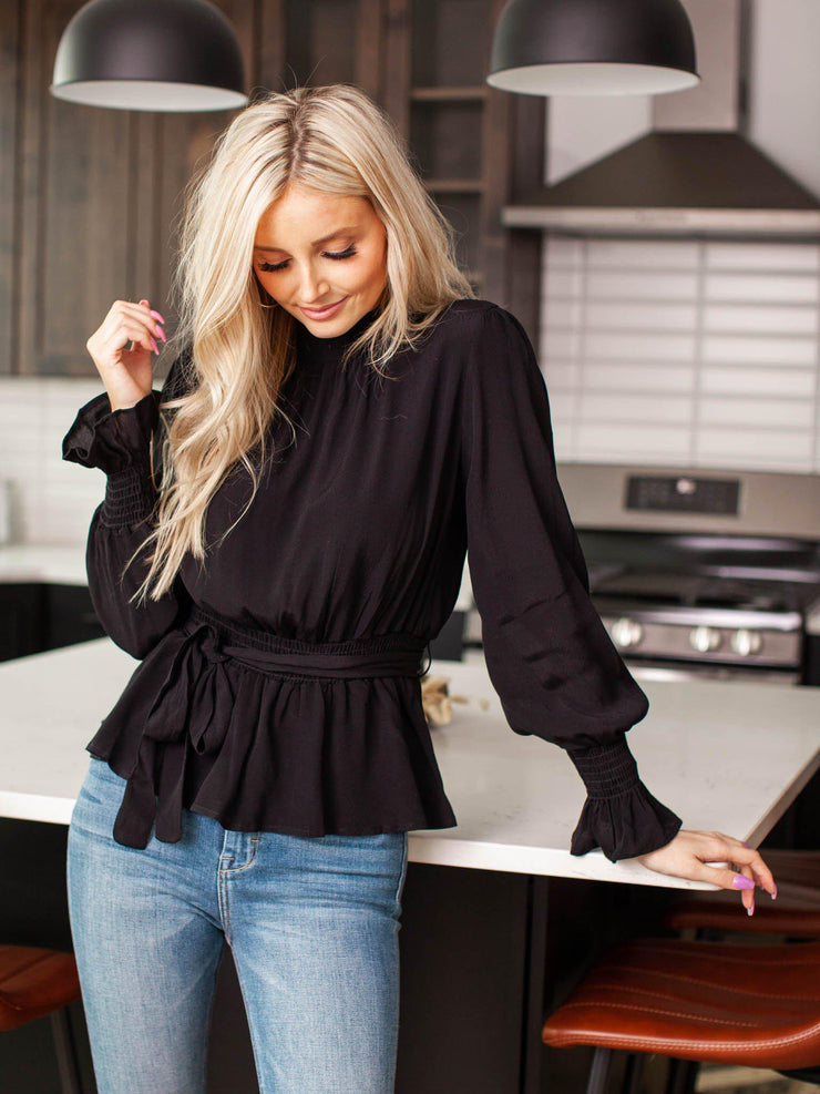 mock neck puff sleeve blouse