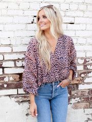leopard wrap blouse