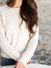crewneck textured sleeve sweater