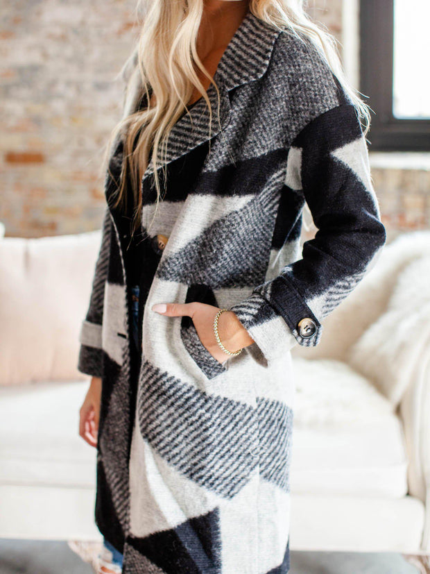collared color block pattern coat