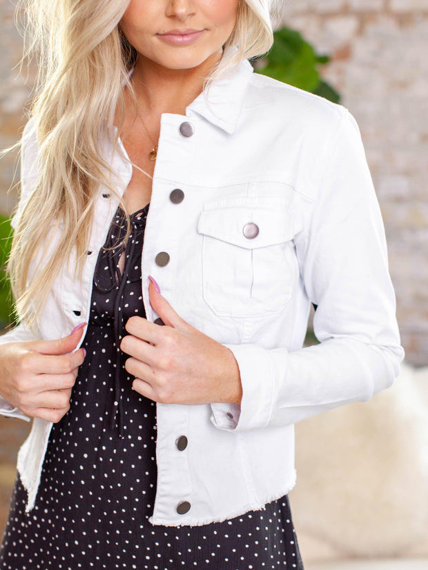 button front white denim jacket